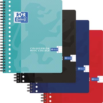 Oxford School collegeblok, ft A5+, 160 bladzijden, 17 gaatjes, kantlijn, gelijnd, geassorteerde kleuren