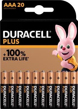 Duracell batterij Plus 100% AAA, blister van 20 stuks
