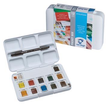 Van Gogh aquarelverf, pocket box met 12 halve napjes