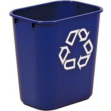 Rubbermaid recylagebak, zonder zijbakjes, 26,6 liter, blauw