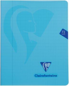 Clairefontaine schrift mimesys voor ft A5, 72 bladzijden, kaft in PP, geruit 4 x 8, geassorteerde kleuren