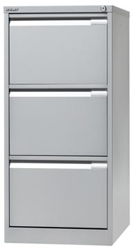 Bisley hangmappenkast, ft 101,6 x 47 x 62,2 cm (h x b x d), 3 laden, zilverkleurig