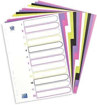 OXFORD MyColour tabbladen, formaat A4, uit gekleurde PP, 11-gaatsperforatie, 12 tabs