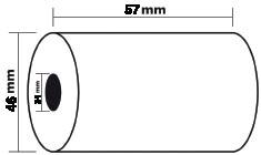 Exacompta thermische rekenrol ft 57 mm, diameter +-46 mm, asgat 12 mm, lengte 24 meter, pak van 5 rol