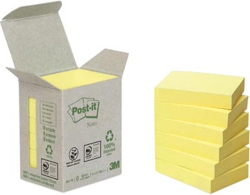 Post-it Notes gerecycleerd, ft 38 x 51 mm, 100 vel, toren van 6 blokken, geel