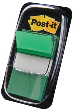 Post-it Index standaard, ft 25,4 x 43,2 mm, groen, houder met 50 tabs