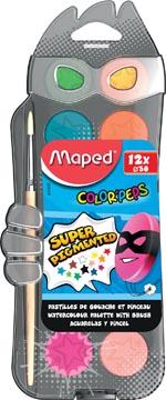 Maped Color'Peps waterverfdoos, doos met 12 napjes in geassorteerde kleuren