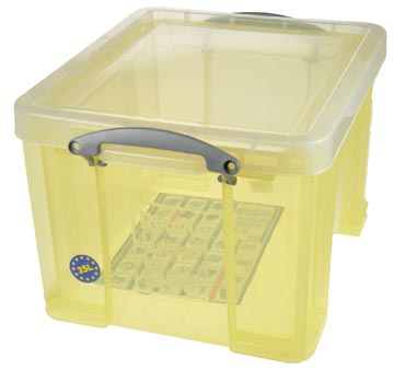 Really Useful Box opbergdoos 35 liter, transparant geel